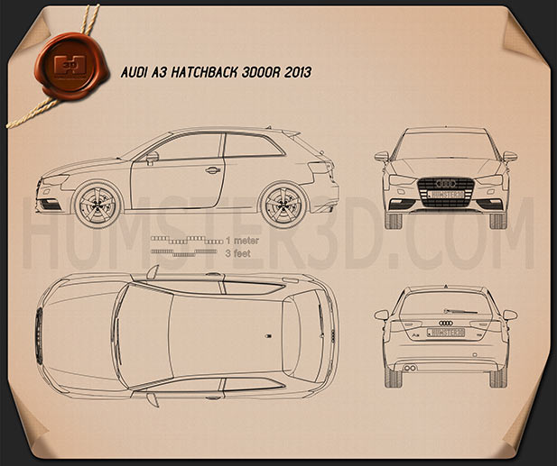 Audi A3 Hatchback 3-door 2013 Blueprint