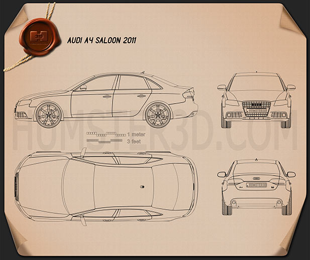Audi A4 Saloon 2011 Blueprint