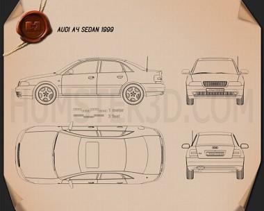 Audi A4 Sedan 1999 Blueprint