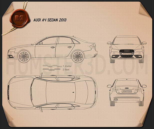 Audi A4 Sedan 2013 Blueprint