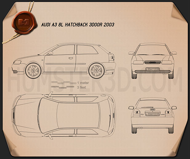 Audi A3 (8L) 3-door 2003 Blueprint