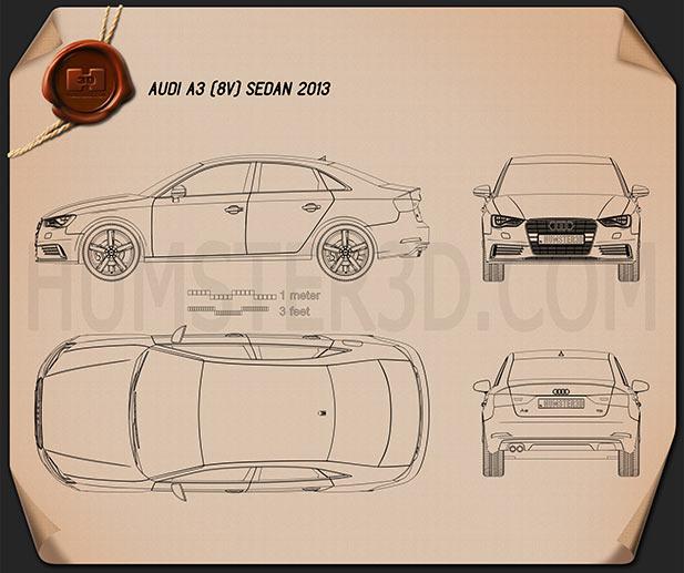 Audi A3 sedan 2013 Blueprint