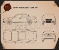 Audi A3 S line sedan 2013 Blueprint