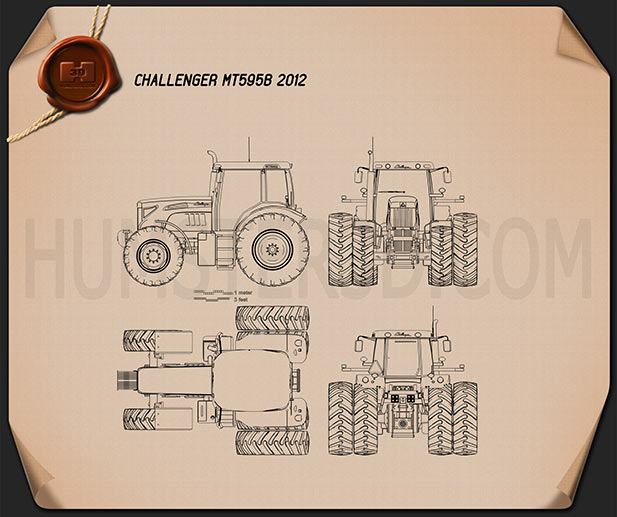Caterpillar Challenger MT595B 2012 Blueprint