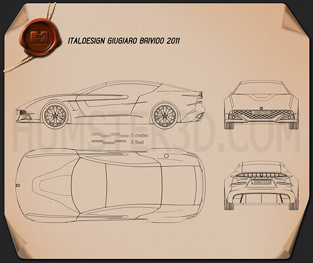 Italdesign Giugiaro Brivido 2012 Blueprint