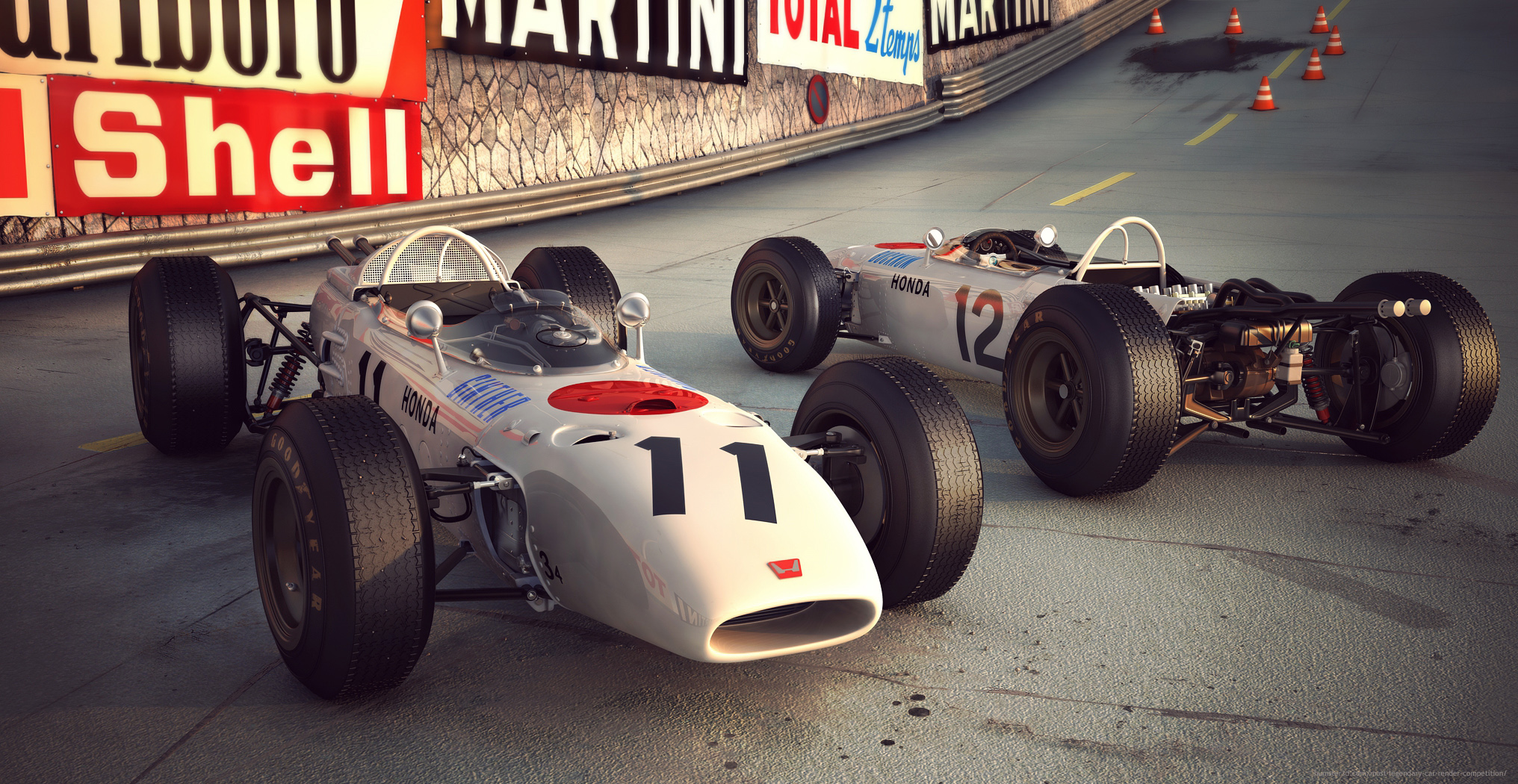 Honda`s first Formula One race car won in 1965 3d art