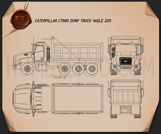 Caterpillar CT660 Dump Truck 4-axle 2011 Blueprint