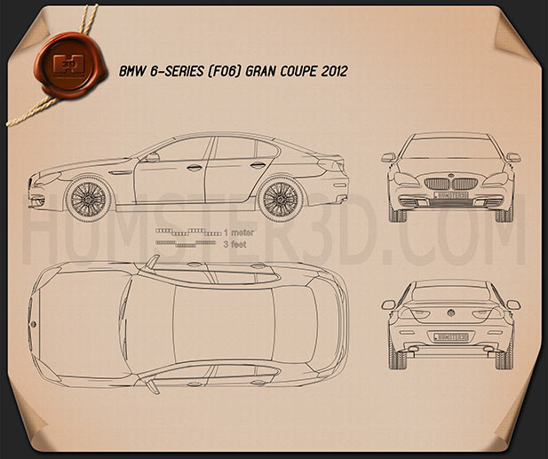 BMW 6 Series (F06) Gran Coupe 2012 Blueprint