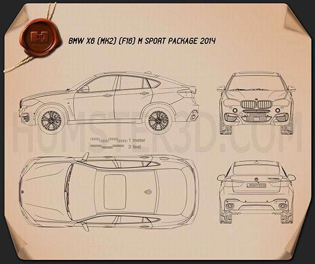 Bmw X6 F16 M Sport Package 2014 Blueprint Hum3d