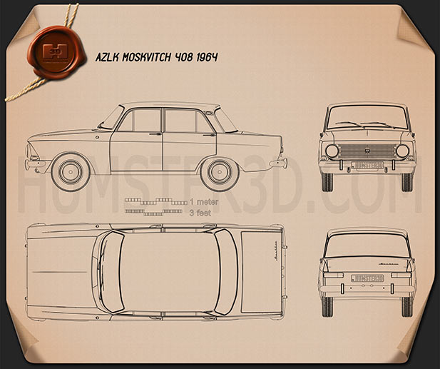 AZLK Moskvitch 408 1964 Blueprint