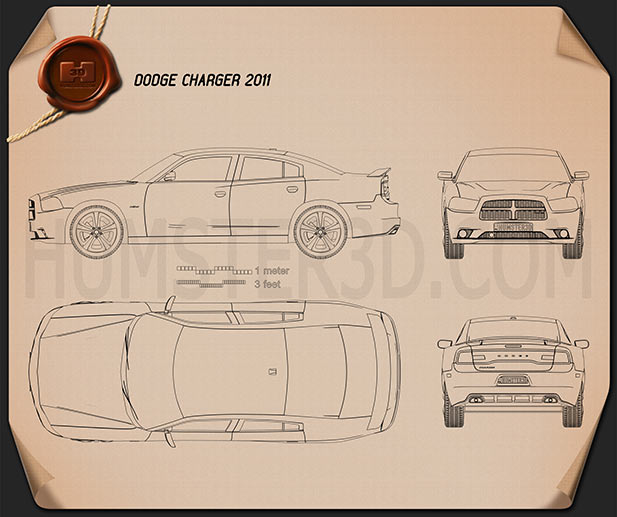Dodge Charger (LX) 2011 Blueprint