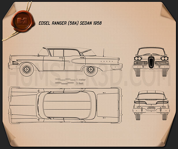 Edsel Ranger sedan 1958 Blueprint