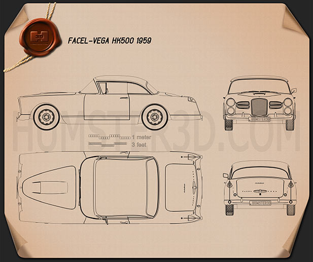 Facel Vega HK500 1959 Blueprint