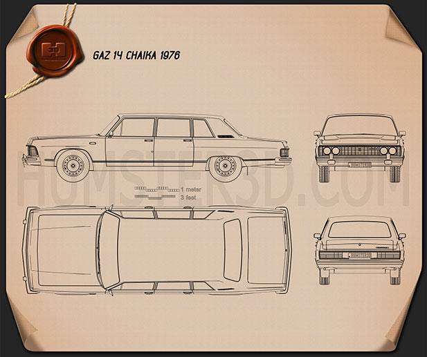 GAZ 14 Chaika 1976 Blueprint
