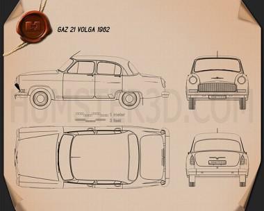 GAZ 21 Volga 1962 Blueprint