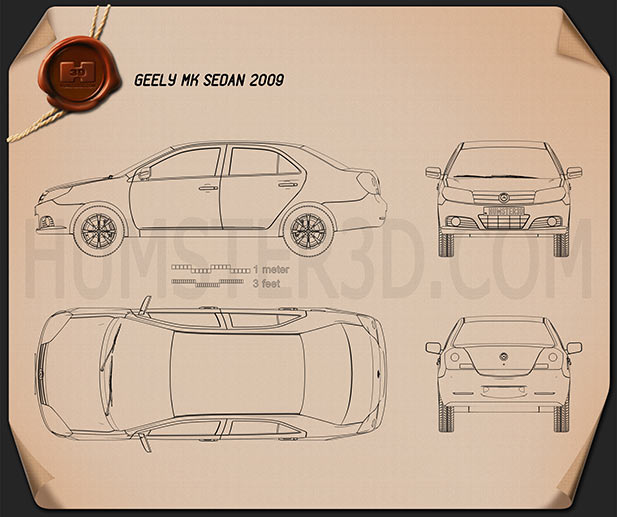 Geely MK sedan 2009 Blueprint