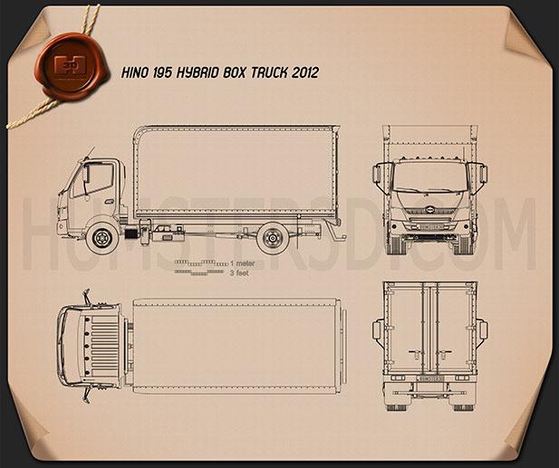 Hino 195 Hybrid Box Truck 2012 Blueprint