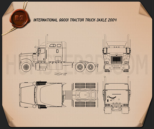 International 9900i Tractor Truck 2004 Blueprint