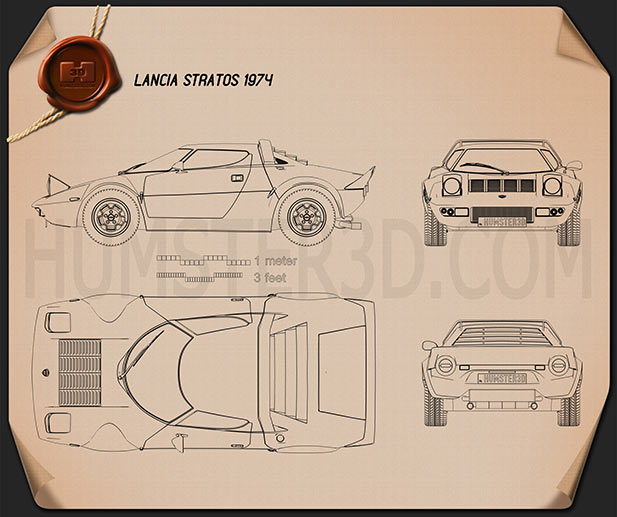Lancia Stratos 1974 Blueprint