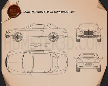 Bentley Continental GT Convertible 2012 Blueprint