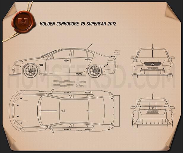 Holden Commodore V8 Supercar 2012 Blueprint - Hum3D