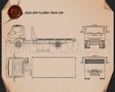 Isuzu NPR Flatbed 2011 Blueprint