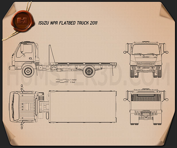 Isuzu NPR Flatbed 2011 Blueprint