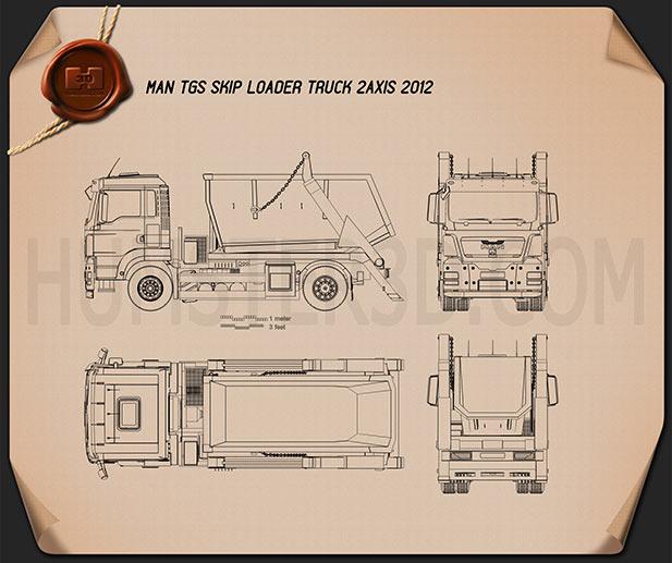 MAN TGS Skip Loader Truck 2012 Blueprint