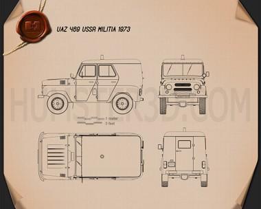 UAZ 469 USSR Militia 1973 Blueprint