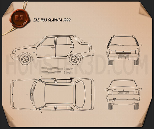 ZAZ Slavuta (1103) 1999 Blueprint
