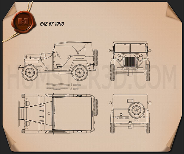 GAZ-67 1943 Blueprint