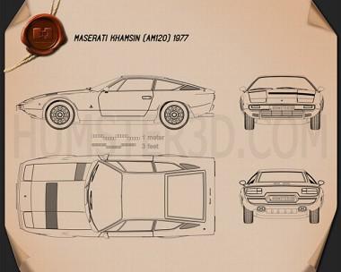 Maserati Khamsin 1977 Blueprint