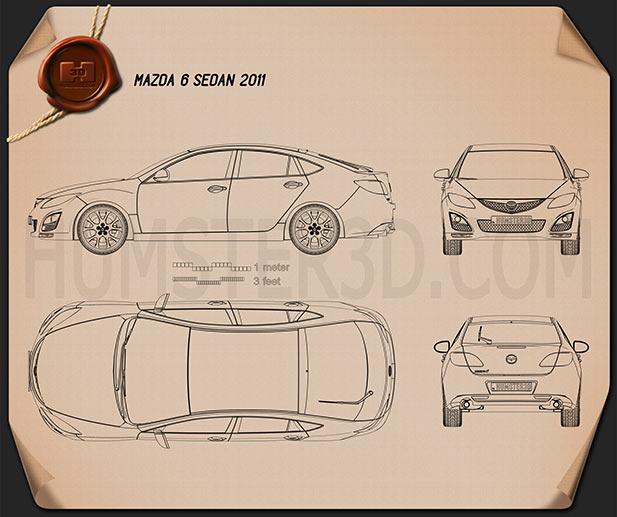 Mazda 6 Sedan 2011 Blueprint
