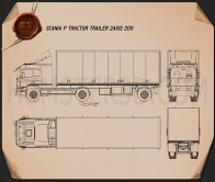 Scania P Tractor Trailer 2011 Blueprint