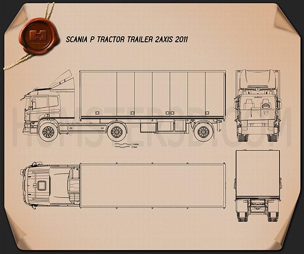 Scania P Tractor Trailer 2011 Blueprint