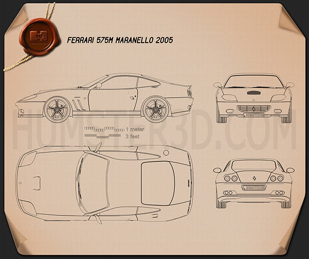 Ferrari 575M Maranello 2005 Blueprint