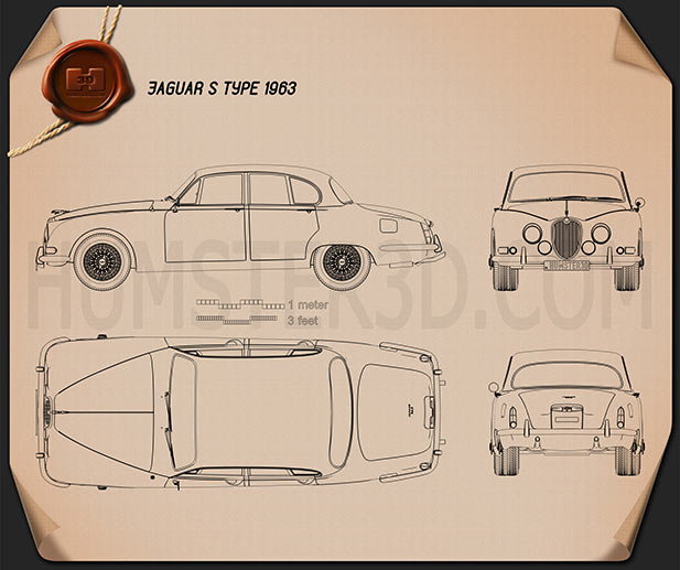 Jaguar S-Type 1963 Blueprint