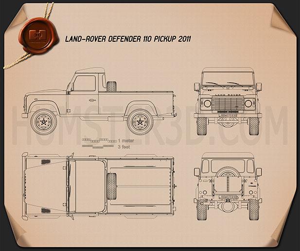 Land Rover Defender 110 pickup 2011 Blueprint