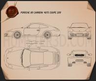 Porsche 911 Carrera 4GTS Coupe 2011 Blueprint