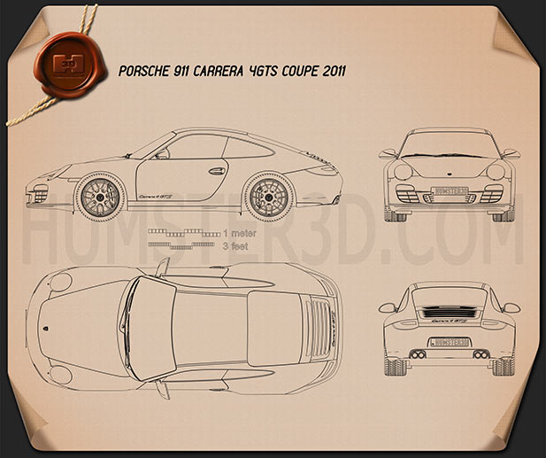 Porsche 911 Carrera 4GTS Coupe 2011 Blueprint