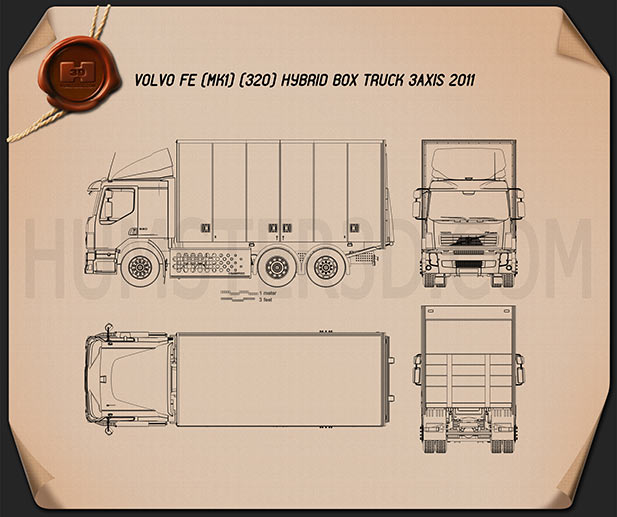 Volvo FE Hybrid Box Truck 2011 Blueprint