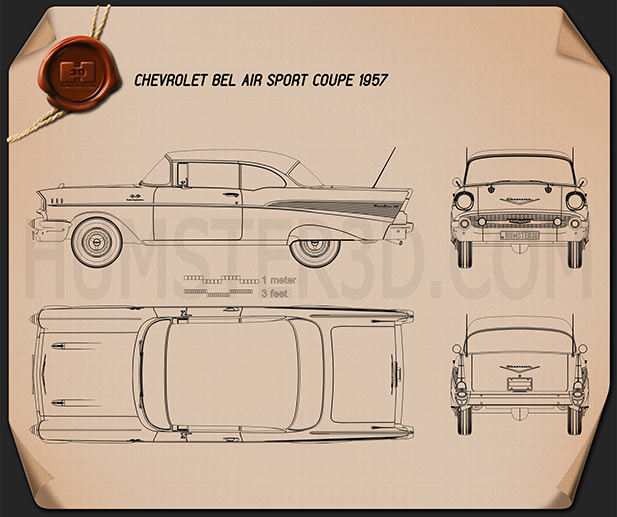Chevrolet Bel Air Sport Coupe 1957 Blueprint