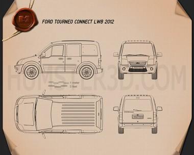 Ford Tourneo Connect LWB 2012 Blueprint