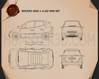 Mercedes-Benz A-class (W168) 1997 Blueprint