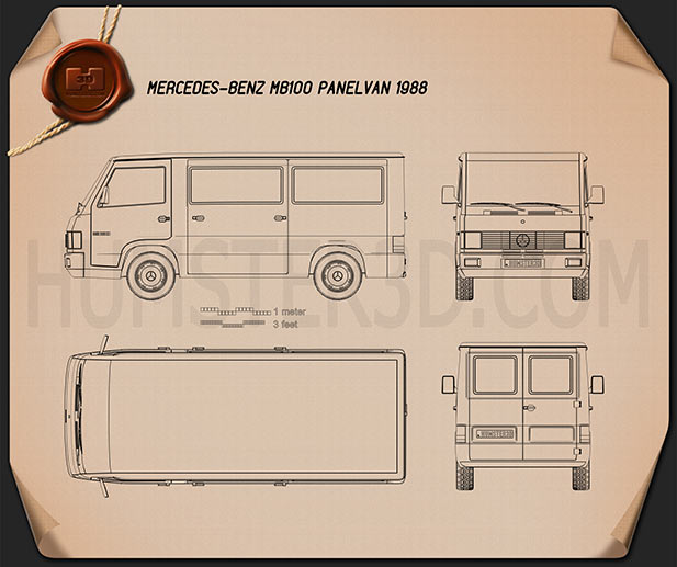 Mercedes-Benz MB100 Panel Van 1988 Blueprint