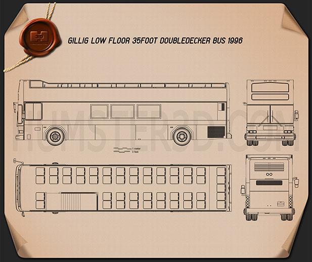 Gillig Low Floor Double Decker Bus 2012 Blueprint