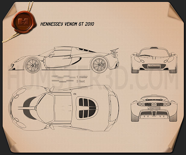 Sports Car Blueprint 3D Models Download   Hum3D