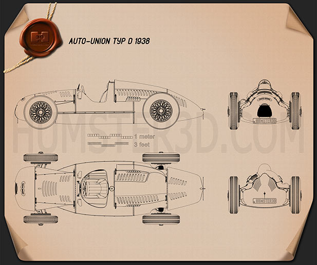Auto Union Type D 1938 Blueprint - Hum3D