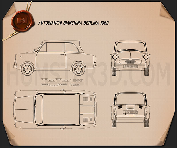 Autobianchi Bianchina Berlina 1962 Blueprint
