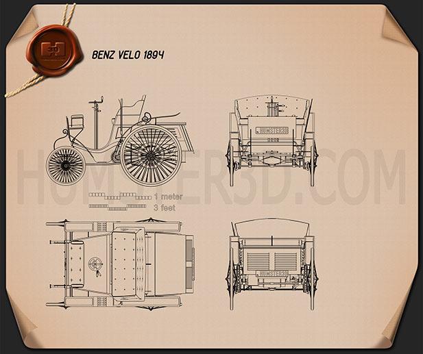 Benz Velo 1894 Blueprint
